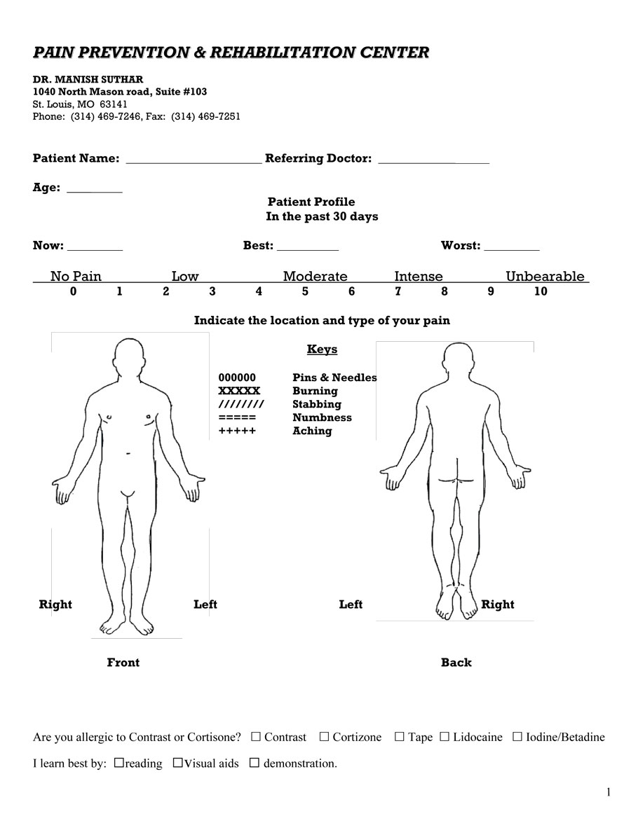 Pain diagram form